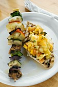 Grilled Vegetable Kebab and Fish Fillet with Fruit Salsa
