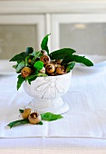 Medlars with leaves in a bowl