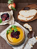 Sweet potato & apple soup with beetroot crisps and apricot & hazelnut bread