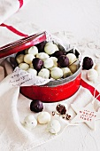 Vanilla bean and macadamia white chocolate truffles and minted dark chocolate truffles