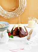 Christmas pudding with brandy custard