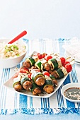 Barbecued tofu and vegetable kebabs