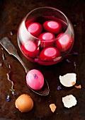 Eingelegte Eier in Rote Bete Saft