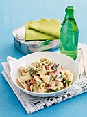 Tortellini alla boscaiola (tortellini with mushrooms and ham)