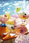 Three sundaes by the swimming pool