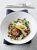 Borlotti bean salad with rocket, cheese and cotechino sausage