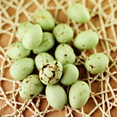 Green chocolate mini eggs