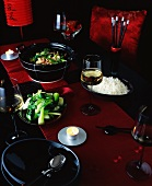 A table laid for a Chinese New Year celebration