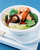 Noodle soup with salmon, vegetables and mushrooms (Asia)