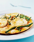 Omelette with green beans and goat's cheese