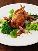 Quail with Savoy Cabbage and Bacon