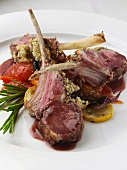 A plate of lamb cutlets editorial food