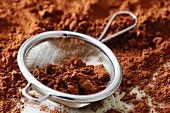Cocoa and sieve - making truffles step shot - with recipe