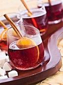 Red wine punch with cinnamon, star anise and orange