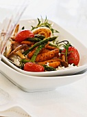 Oven-roasted vegetables with rice