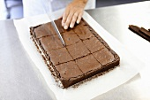 Cutting Brownies into squares - step shot