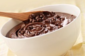 Raw brownie mixture with chocolate chips