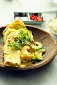 An omelette with bitter melon and coriander