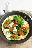 Omelette with tomatoes, olives and mozzarella