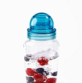 Raspberry and Blueberry fruit drink shaker
