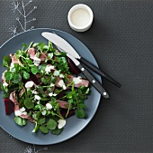 A salad of grilled lamb, watercress, beetroot and aioli