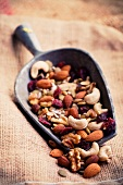 Mixed Nuts and Dried Fruit in a Scoop