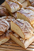 Rustic bread, whole and halved