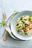 Pea and Lemon Risotto with Prosciutto; In a Bowl