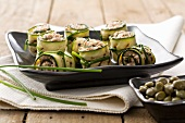 Involtini di zucchina al tonno (rolled stuffed courgette strips)