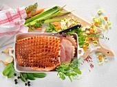 Krustenbraten vom Schwein mit Gemüse