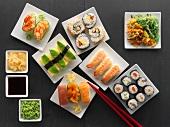 Sushi on square plates