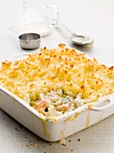 Fish pie with prawns and mashed potato