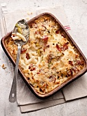 Macaroni cheese in a lasagne dish