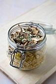 Mushroom pasta in jar
