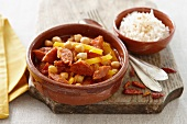 Chorizo with beans, peppers and a side of rice