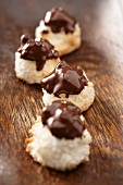 Ginger and coconut macaroons with chocolate