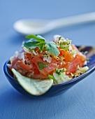 Salmon tartare with parsley