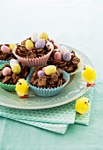 Chocolate cornflake nests with ornamental chicks