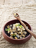 Black beans with Venus clams and coconut milk