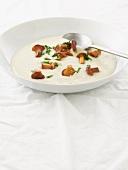 Potato and celeriac soup with chanterelle mushrooms