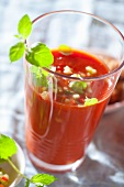 Gazpacho (cold tomato soup, Spain) with oregano