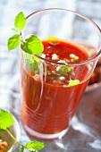 Gazpacho (cold tomato soup, Spain) with oregano