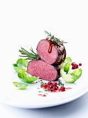 Fillet of venison with cranberries and Brussels sprouts