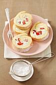 Sponge roll with basil & mascarpone cream and strawberries