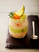 A layered dish of avocado mousse and salmon mousse