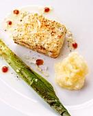 Breaded tofu with leek and mash