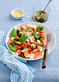 Tomato salad with basil and mozzarella