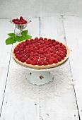 Raspberry tart on a wooden surface