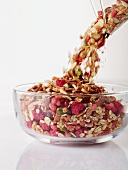 Fruit muesli pouring into a bowl