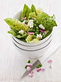 Romaine lettuce with peas and feta